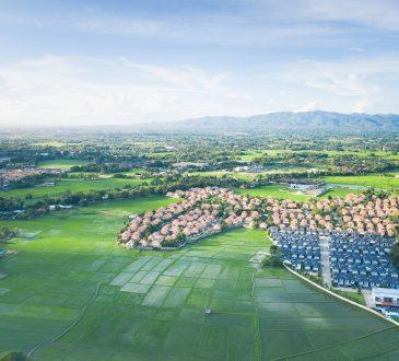 widok z powietrza na osiedle domów jednorodzinnych